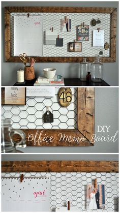 Office Memo Board - Little Glass Jar Easy DIY rustic office memo board!<br> All the details on this functional DIY Office Memo Board for our office! Great to display wedding invites and cards instead of throwing them in a pile! Easy Home Decor, Home Office Decor, Rustic Office Decor, Vintage Office Decor, Office Decorations, Wedding Decorations, Board Decoration, Diy Rustic Decor, Decor Diy