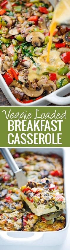 Veggie Loaded Breakfast Casserole - this breakfast is a perfect way to feed a crowd, you can customize it to include anything your family or guests enjoy and it actually tastes better when you re-heat it so it's a great make-ahead recipe.  Swap potatoes for sweet potatoes, use a dairy free milk option - the choices are endless. Veggie Breakfast Casserole, Dairy Free Egg Casserole, Chicken And Vegetable Casserole, Breakfast For A Crowd, Veggie Egg Bake, Vegetarian Egg Casserole, Breakfast Cassrole, Make Ahead Breakfast Casseroles, Vegetable Hash Recipe