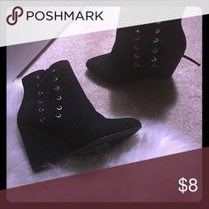 Black wedge /lace up .. booties Suede(never worn ) Forever 21 Shoes Wedges