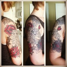 Completed floral design half sleeve tattoo.
