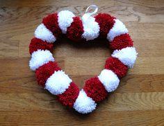 Valentine's Pom Pom Wreath - thread 18 pom poms through general purpose garden wire, form into a heart, twist the ends. Valentine Wreath, Valentine Day Crafts, Holiday Crafts, Pom Pom Crafts, Yarn Crafts, Crafts To Make And Sell, How To Make Wreaths, Pom Pom Kranz, Pot A Crayon