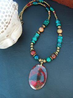 collier bohème ethnique jaspe rouge , jaspe picasso et azurite pièce unique ! : Collier par lilicat