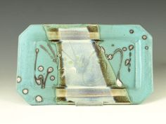 Rectangular Serving tray in Turquoise handmade stoneware pottery