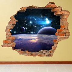 Lesara - Everything You Love. 3d Art Painting, 3d Art Drawing, Galaxy Painting, Floor Murals, Wall Murals, Wall Art, Wall Stickers Space, Hm Deco, Mural Cafe