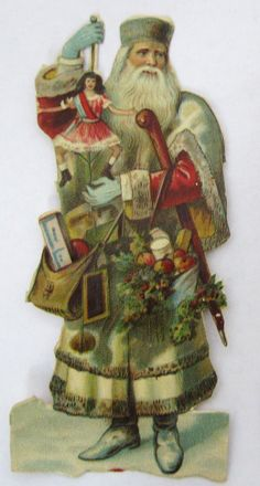/ vintage santa in a white robe / victorian scrap / Vintage Christmas Images, Victorian Christmas, Christmas Pictures, Christmas Scenes, Christmas Art, Christmas Holidays, Christmas Mantles, Christmas Villages, White Christmas