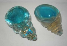 2 small ARCHIMEDE SEGUSO Incredible MURANO Glass SEASHELL Sculptures BOWLS Gold