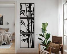 Modern Metal Wall Art, Metal Wall Art Decor, Black Wall Art, Metal Art, 3 Panel Wall Art, Wall Art Sets, Metal Design, Cactus Wall Art, Bamboo Wall
