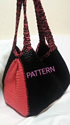 Pattern: Crochet Tote Pattern, Black and Coral Tote Bag, Crochet Tote Bag Tutorial, DIY Tote, Easy Crochet Tote Pattern