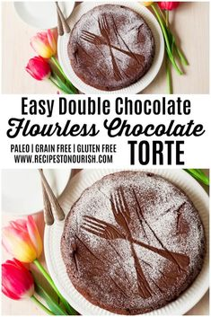 Looking for an easy, decadent chocolate dessert? You're going to love this luscious, naturally sweetened Double Chocolate Flourless Chocolate Torte! | Recipes to Nourish | Flourless chocolate torte | Easy chocolate torte | Healthier chocolate torte | Paleo chocolate torte | Flourless chocolate cake | Gluten-free chocolate torte | Chocolate desserts | Chocolate cake | Gluten free flourless chocolate torte | Gluten free flourless chocolate cake || #flourlesschocolatetorte #chocolatetorte