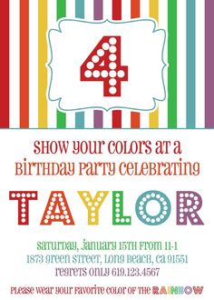 rainbow party invites