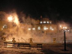 Budapest Spa Pool by Night