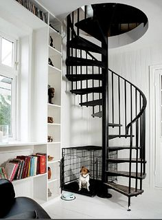 Black spiral stairs with white interior