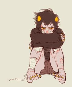 Karkat Vantas. <== This reminds me of when i was super little and came home every day after playing and looking like this.