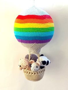 Rainbow nursery hot air balloon decoration, crochet animals in a hot air balloon