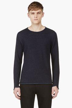 Maison Martin Margiela Navy Linen Blend Crewneck Sweater