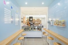 "Italian architecture firm NINE Associati has designed an Italian ice cream shop in the Italian village of Isola del Liri that reflects the company's commitment to serving ""clean label"" products. Cafe Interior Design, Cafe Design, Design Blogs, Bakery Shop Interior, Design Websites, Decorating Websites, Italian Ice Cream, Café Bar, D House"