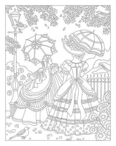 Victorian ladies adult coloring page