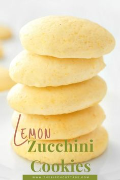 Lemon Zucchini Cookies Recipe - The Birch Cottage Zucchini Cookie Recipes, Lemon Zucchini Muffins, Zucchini Cookies, Chocolate Zucchini Muffins, Zucchini Bread, Shrimp Stir Fry, Christmas Cookie Exchange, Baking Muffins, White Chocolate Chips