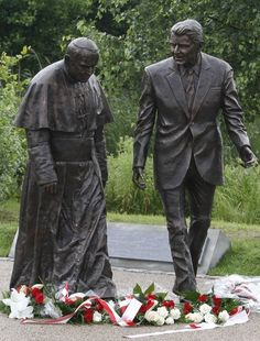 A new statue of President Ronald Reagan and Pope John Paul II that was unveiled in Gdansk, Poland, on Saturday, July 14, 2012. Both late leaders are highly reveared in Poland for their role in helping to topple communism.