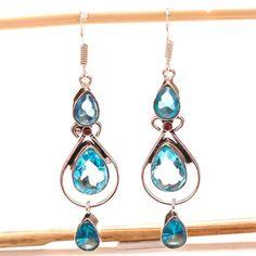 BLUE-TOPAZ-GEMSTONE-925-SILVER-JEWELRY-EARRING-2-85-034 Sterling Silver Jewelry, 925 Silver, Topaz Gemstone, Blue Topaz, Drop Earrings, Gemstones, Handmade, Hand Made, Gems