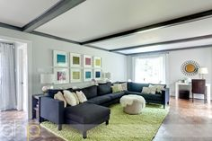 YoungHouseLove living room. Nice use of color and space.