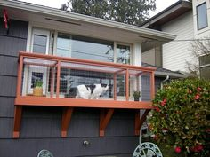 This diy catio fits perfectly with your sash or slider windows and is purrfect for those who don't have a yard. Find plans for various sizes here.