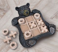Black Forest Decor, Bear Decor, Tic Tac Toe, Pebble Painting, Game Pieces, Black Bear, String Art, Outdoor Fun, Game Room