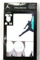 Nike Jordan 3 Piece Infant New Born Baby Lap Shoulder Bodysuit, Booties and Cap; 0-6 Months; White with Classic Air Jordan Logo; 3 Piece Set; New