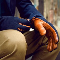 Cognac Contrast Gloves by A Kind Of Guise mens fashion