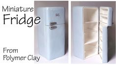 Today we're making a cute and fairly simple miniature refrigerator… Hey guys! Today we make a cute and simple miniature refrigerator made of polymer clay. Dollhouse Miniature Tutorials, Diy Dollhouse, Miniature Dolls, Dollhouse Miniatures, Miniature Furniture, Dollhouse Furniture, Miniature Christmas, Christmas Tree, Miniature Kitchen