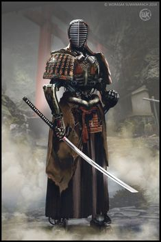 Male martial with katana. Katana Samurai, Robot Samurai, Samurai Warrior, Samurai Anime, Samurai Helmet, Kendo, Character Concept, Character Art, Concept Art