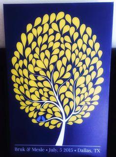 Bubble Wedding Tree Canvas   Guest Book Alternative   Customer Photo   Wedding Colors: Royal blue & Yellow   Peachwik.com