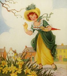 Daffy Down Dilly has come up to town, in a yellow petticoat and a green gown.
