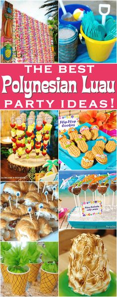 The best Polynesian luau party ideas! - - Everything you need for the perfect luau party! Make an island paradise with ideas for tropical decor, tiki cocktails, and Hawaii-inspired party foods. Aloha Party, Party Hawaii, Hawaiian Luau Party, Hawaiian Birthday, Tiki Party, Luau Birthday, Hawaiin Party Food, Birthday Ideas, Hawaiian Theme Food