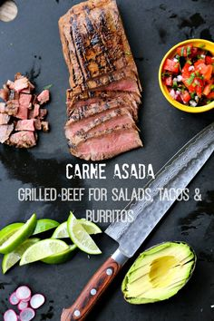 Carne Asada {Grilled Beef for Salads, Tacos, and Burritos} from Foodie With Family for Grilling Recipes, Meat Recipes, Mexican Food Recipes, Real Food Recipes, Dinner Recipes, Cooking Recipes, Dinner Ideas, Cooking 101, Lamb Recipes