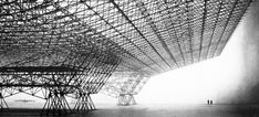 Space Frame 1951 (designed to house world's largest aircraft, Convair B-36 Peacemaker), by Konrad Wachsmann