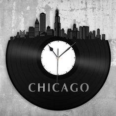 Chicago Illinois Skyline Wall Clock, Chicago City Skyline Record Art, Repurposed Vinyl Gift Ideas, Unique Designer Personalized Clocks