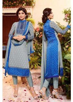 gris et bleu couleur georgette churidar costume, - 106,00 €, #Salwarkameez #Robeindienne #Robepakistanaise #Shopkund