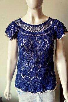 Vânia Alves /Handmade: Blusa abacaxi azul marinho