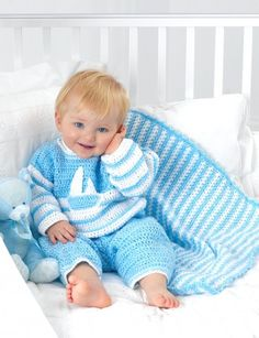 Striped blanket. change colors for girl. easy stitch. free pattern.