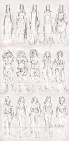 I've been wanting to do this for a long time, and of course, I decided to finally do it when I should be doing something else. Five clothing designs for each of my girls, Istaaz, Dalarna and Messir...