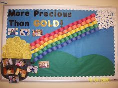 March bulletin board.  I like how they did the rainbow.