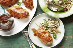 Make the most of barbecue weather with Curtis Stone's moist and juicy American-style BBQ chicken served with fresh and crunchy carrot-zucchini slaw.