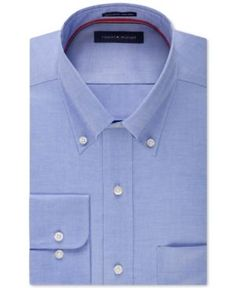 Tommy Hilfiger Men's Classic-Fit Non-Iron Solid Dress Shirt - Blue 14.5 32/33