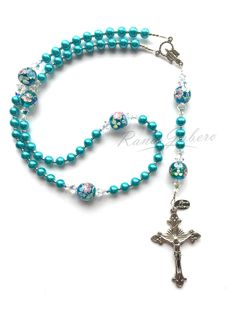 Aqua Pearl Flower Rosary - Can be Personalized! from Rana Jabero