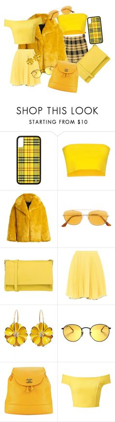 """""""💛"""" by josseline-fashion ❤ liked on Polyvore featuring Liviana Conti, Diane Von Furstenberg, RetroSuperFuture, Orciani, Boutique Moschino, Chanel, Miss Selfridge and yellow"""