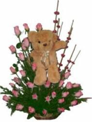 Pink Rose Basket With Teddy For Pune Delivery Huge Collection Of Gifts To
