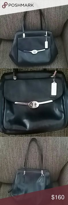 COACH LEATHER BAG Black Genuine Leather exterior with Navy Blue lining, in excellent condition. Was a gift from a client. Coach Bags Shoulder Bags