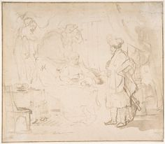 Potiphar's Wife Accusing Joseph Before her Husband Rembrandt (Rembrandt van Rijn)  (Dutch, Leiden 1606–1669 Amsterdam) Date: 1620–69 Medium: Pen and ink, brush and wash. Framing line in pen & brown ink. Dimensions: sheet: 7 7/16 x 8 7/16 in. (18.9 x 21.5 cm) Classification: Drawings Credit Line: Gift of Dr. F. H. Hirschland, 1953 Accession Number: 53.203