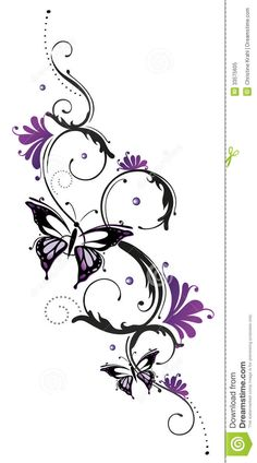 Illustration about Tribal with butterfly, black purple. Illustration of drawing, frame, botany - 33575605 Vine Tattoos, Arm Tattoos, Flower Tattoos, Body Art Tattoos, Cool Tattoos, Tatoos, Butterfly Tattoos, Wrist Tattoo, Tattoos For Daughters